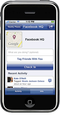Facebook Places for iPhone