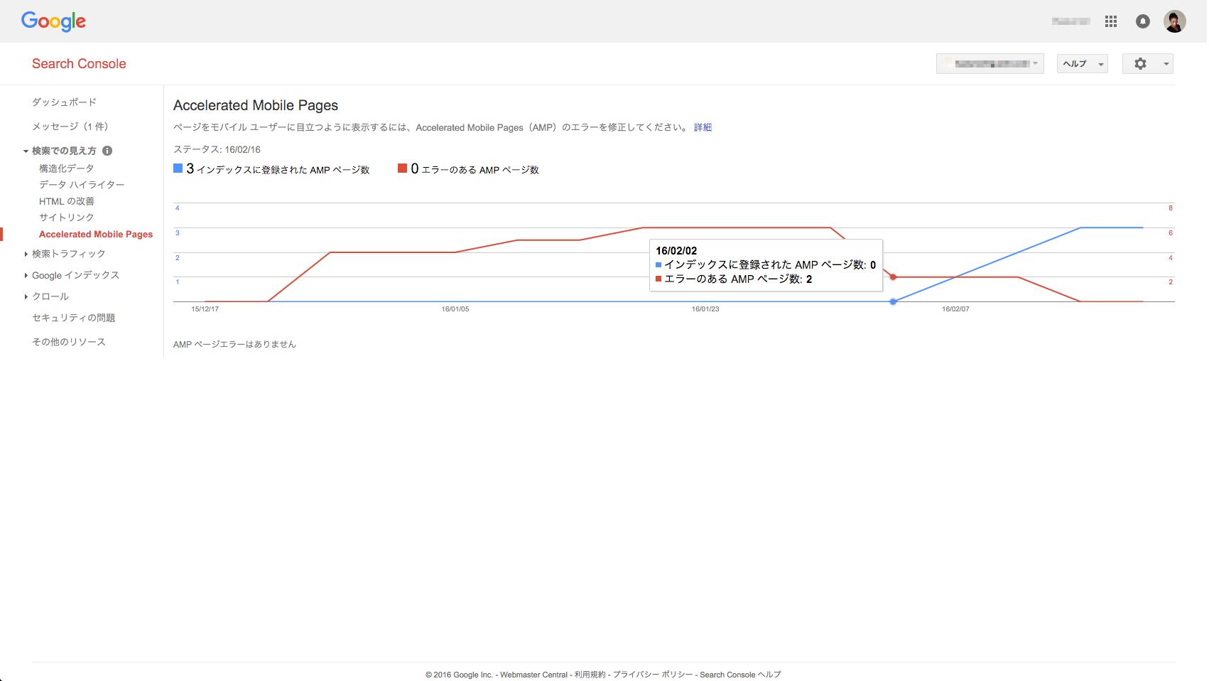 GoogleのAMPページのインデックスが2016/2/2に増加・変動した様子