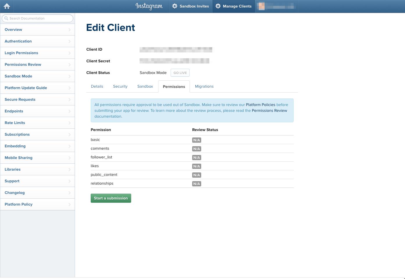 instagram API使用審査の申請方法