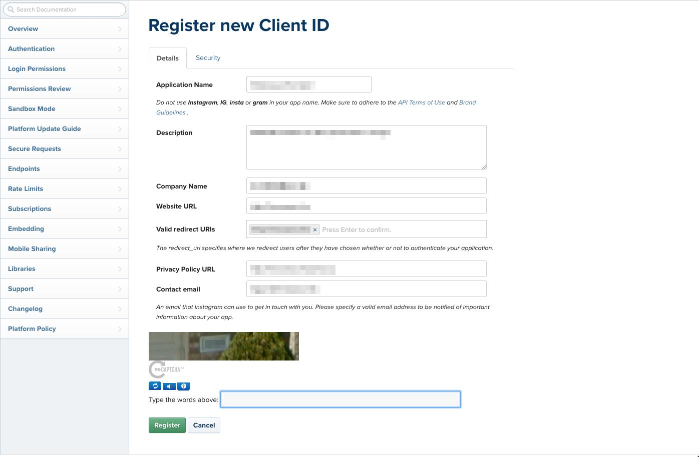 instagram APIでのアプリケーションの登録