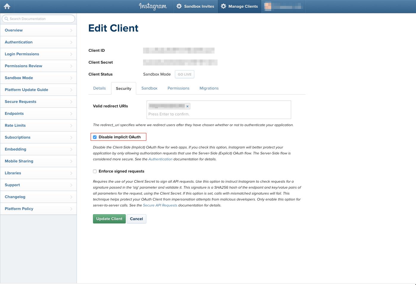 Disable implicit OAuthのチェックを外して再度アクセス