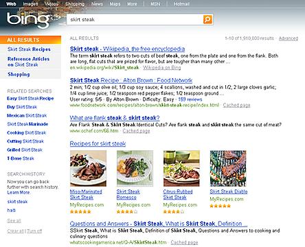 Bing が料理のレシピ を検索結果に表示