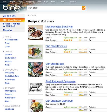 Bing のhRecipe