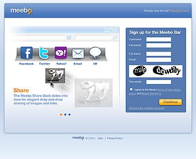 meebo bar アカウント登録画面