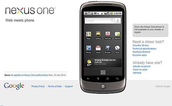 Google Nexus Oneストアが閉店