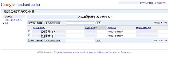 複数のサイトを登録した時の親アカウン管理画面