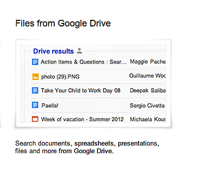 Googleドライブの内容も検索結果に表示するトライアル
