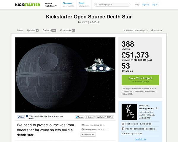デススター建造のKickstarterのプロジェクトページ