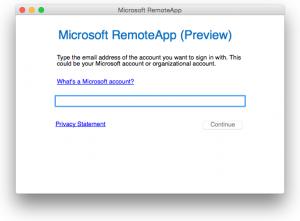 Microsoft RemoteAppログイン画面