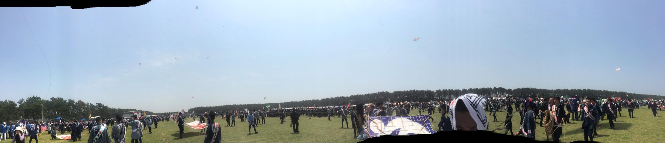 浜松まつり当日の凧場の様子