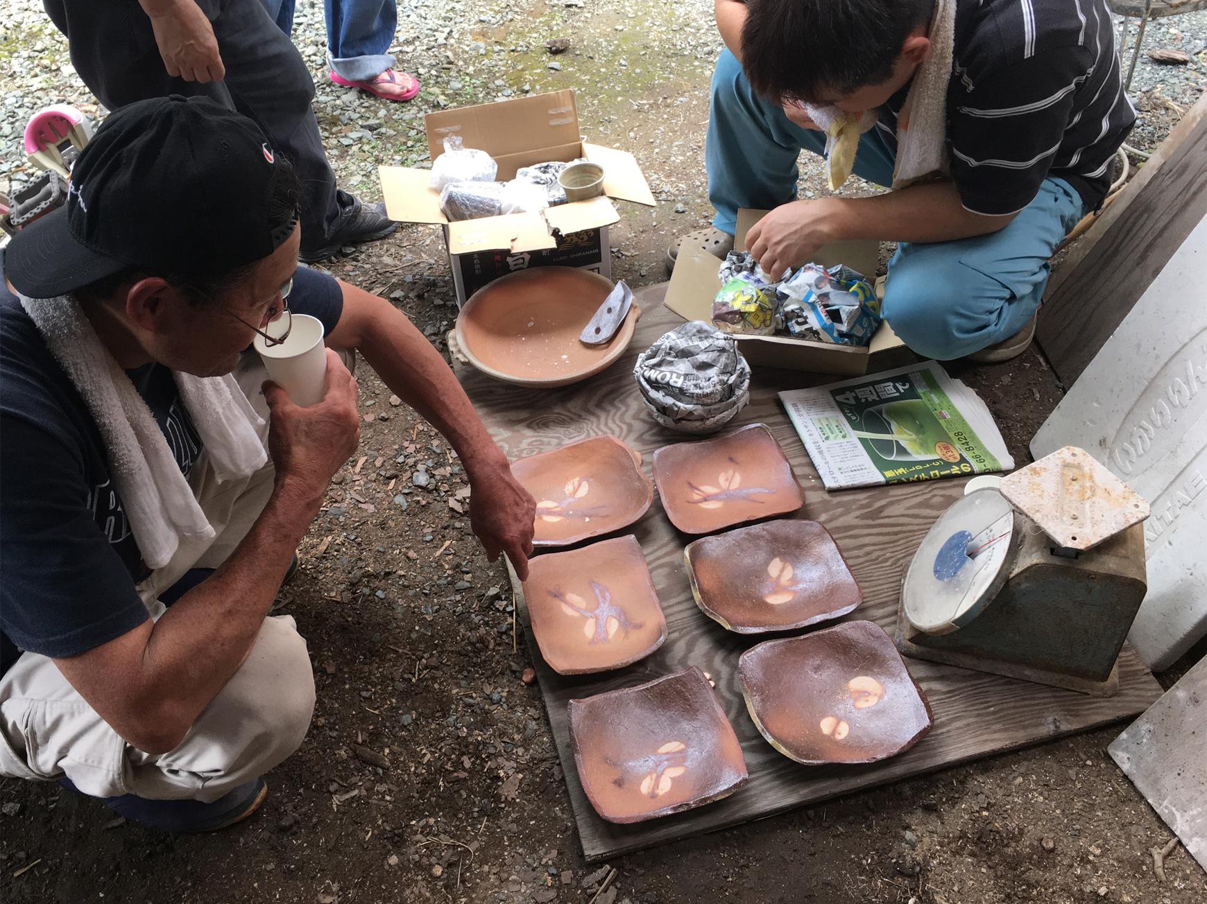 陶器に施した焼目の細工