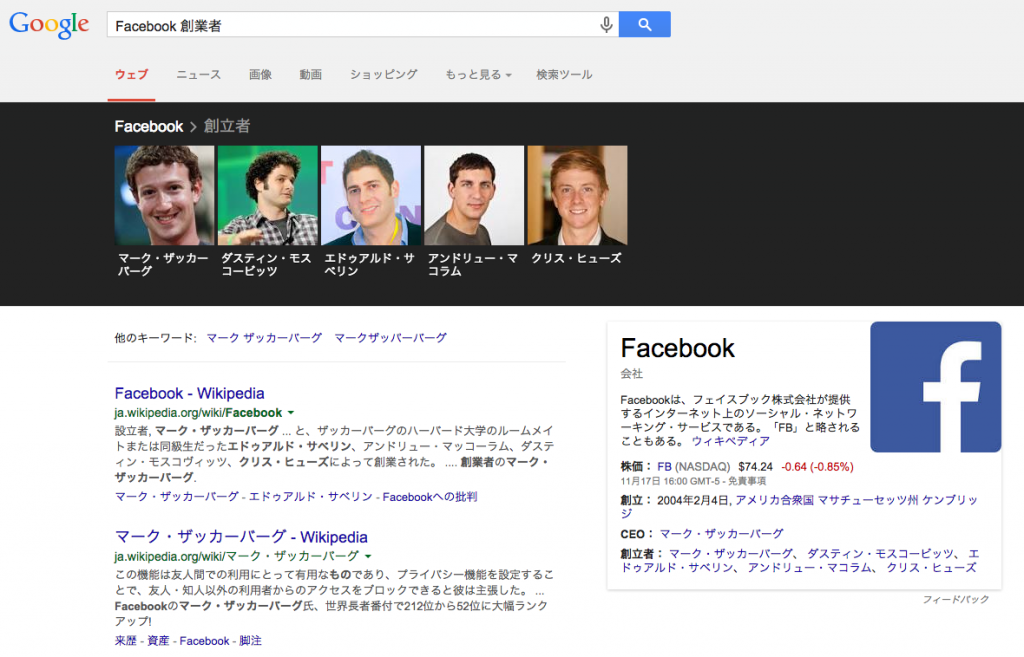 Facebook 創業者の検索結果