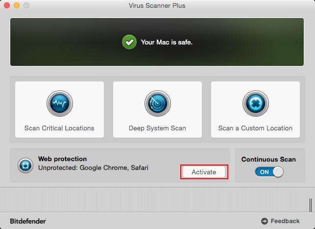 Virus Scanner Plusで保護・監視の開始